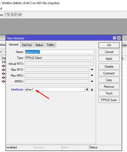 configuramos el pppoe client para una nueva interfaz