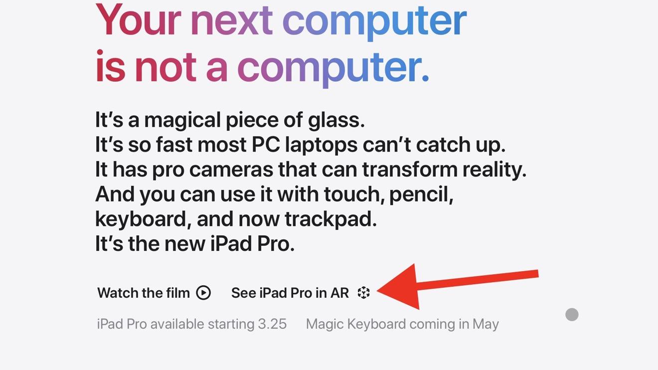 Haga clic en ver iPad Pro en AR